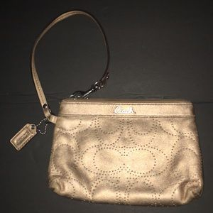 Coach Gold Perforated Leather Wristlet
